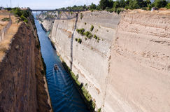 Corinth canal, Greece. Ship crossing Corinth canal in Greece Royalty Free Stock Photos