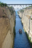Corinth Canal, Greece. Ship crossing Corinth canal in Greece Royalty Free Stock Images