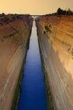 Corinth Canal, Greece. The Corinth Canal, Greece, man-made approx 1890, 21 meters wide, 35 meters below bridge, water is 8 meters deep Royalty Free Stock Photos