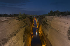 Corinth Canal. In greece by night view royalty free stock image