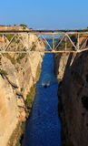 The Corinth canal, peloponnese, greece, Seaway. Corinth canal with boat, peloponnese, greece. Seaway royalty free stock photography