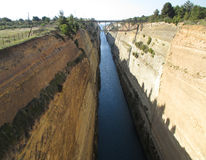 Corinth Canal, Peloponnese peninsula of Greece Stock Photos