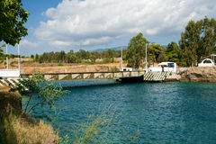 The Corinth Canal submersible bridge Royalty Free Stock Image