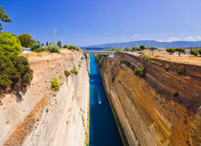 Corinth channel in Greece. Travel background Royalty Free Stock Image