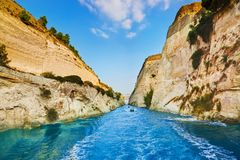 Corinth channel in Greece. Travel background Royalty Free Stock Photo