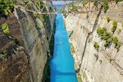 Corinth channel in Greece in a summer day stock images