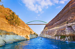Corinth channel in Greece. Travel background Stock Photos