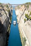 Corinth channel in Greece view on Aegean Sea while a ship is going to pass the channel.  Stock Photography