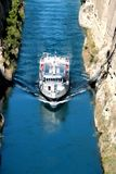 Corinth channel in Greece view on Aegean Sea while a ship is going to pass the channel.  Royalty Free Stock Image