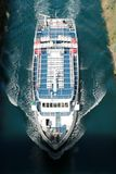 Corinth channel in Greece view on Aegean Sea while a ship is going to pass the channel.  Royalty Free Stock Photography
