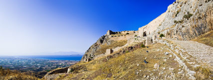 corinth fort gammala greece Royaltyfria Foton
