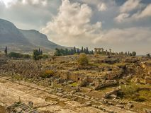 Corinth, Greece 15 August 2017. Ancient Corinth in Greece visited by tourists. royalty free stock photography