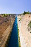 Corinth kanal i Grekland Arkivbild