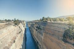 Corinth kanal i Grekland 2 arkivfoto