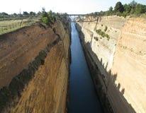 Corinth kanal, Peloponnese halvö av Grekland Arkivfoton