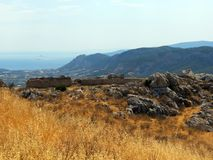 Corinth,the sun-scorched slopes of the ancient fortress royalty free stock image
