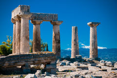 Corinth. Temple in Corinth, Peloponnese, Greece stock photography