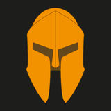 Corinthian bronze orange helmet on a black background Stock Photo