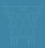 Corinthian capital. On blue background Royalty Free Stock Photos