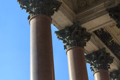 Corinthian colonnade. A colonnade with corinthian columns at St. Isaac's cathedral in St. Petersburg Royalty Free Stock Photo
