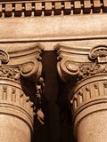 Corinthian Colum in beige or brawn marble Royalty Free Stock Photos
