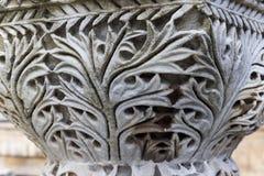 Corinthian column capital fragment closeup. Ancient architectural order building decor, Istanbul archaeological museum Stock Photos