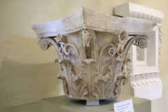 Corinthian column capital in museum of Epidauros Royalty Free Stock Image