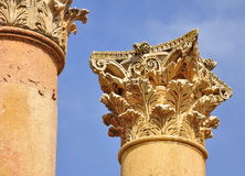 Corinthian column in Jerash Royalty Free Stock Photography