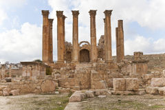 Corinthian column of the temple of artemis. In ancient city of jerash, jordan Royalty Free Stock Photos
