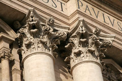 Corinthian columns. Ornate corinthian columns of St. Peter's Basilica in Vatican City Stock Photo