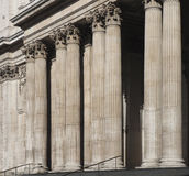 Corinthian columns. Large stone building such as a bank Stock Image