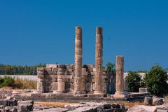 Corinthian columns in Letoun,Turkey Royalty Free Stock Photo