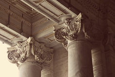 Corinthian columns of St. Peter's Basilica in Vatican. Close-up of corinthian columns of St. Peter's Basilica in Vatican, Rome, Italy Royalty Free Stock Photo