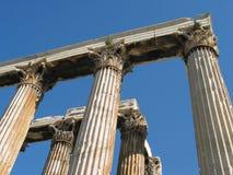 Corinthian columns at the Temple of Olympian Zeus, Athens, Greece. A detail of Corinthian columns stock images