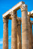 Corinthian columns of Zeus temple in Greece Stock Image