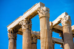 Corinthian columns of Zeus temple in Greece Stock Photos