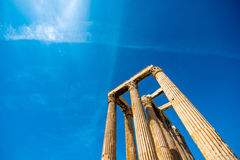 Corinthian columns of Zeus temple in Greece Royalty Free Stock Photos