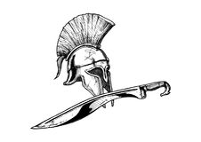 Corinthian helmet and kopis sword. Ancient Greek Corinthian helmet and kopis sword - hoplite equipment. Vector hand drawn illustration in vintage engraved style vector illustration