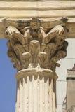 Corinthian huvudstad av Roman Provincial Forum av Merida, Spanien arkivfoton