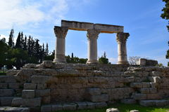 Corinthian order columns in ancient Corinth. Royalty Free Stock Photography