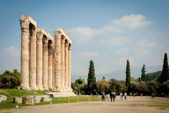 Corinthian order decorated pillars of the Temple of Olympian Zeus in Athens, Greece stock photography