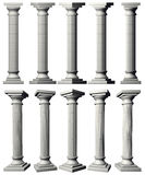 Corinthian Pillars. 5 Roman pillars both with and without perspective including clipping paths