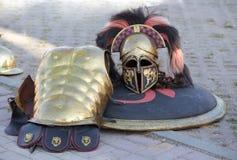 Corinthian Spartan soldier uniform. Helmet and breastplate of a Spartan Soldier uniform royalty free stock photo