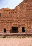 Corinthian Tomb, Petra. The ornately carved sandstone facade surrounding the entrance of the Corinthian Tomb in Petra, Jordan. The ancient city of Nabataeans is Royalty Free Stock Photo
