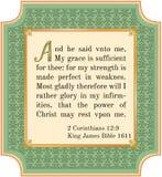 2 Corinthians 12:9. Bible verse about God's grace. King James version, 1611 stock illustration