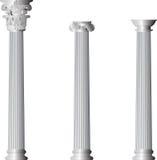 Corinthische Ionische Dorische kolommen Stock Afbeelding