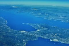Corinthos-Kanal Lizenzfreie Stockfotos