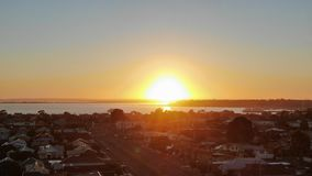 Sun set Corio bay stock photo
