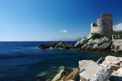 Corisa cape. Old tower in Corsica cap Stock Photography