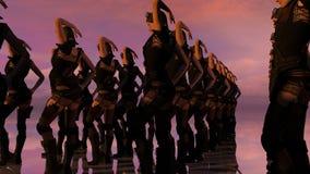 Coristas atractivas de la fantasía en la puesta del sol Imagen de archivo libre de regalías